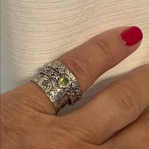 Etched Handmade Spinner Ring Size 6.